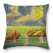 Green Sea Throw Pillow