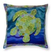 Green Sea Turtle Silk Painting Throw Pillow
