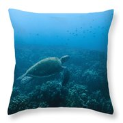Green Sea Turtle Swimming Over Coral Throw Pillow