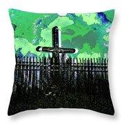 Green Sky Cross Throw Pillow
