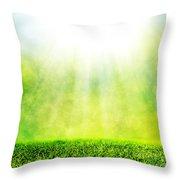 Green Spring Grass Against Natural Nature Blur Throw Pillow