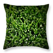 Green Stalks Throw Pillow
