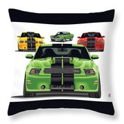 Green Stang Throw Pillow
