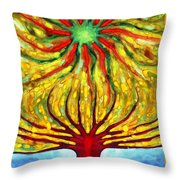 Green Sun Throw Pillow