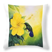 Green-throated Carib Hummingbird And Yellow Hibiscus Throw Pillow