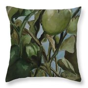 Green Tomatoes On The Vine Throw Pillow
