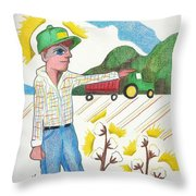 Green Tractor Hat Throw Pillow