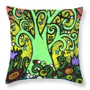 Green Tree With Purple Tulips Throw Pillow