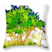 Green Trees By The Lake Throw Pillow