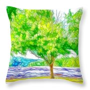 Green Trees By The Water 3 Throw Pillow