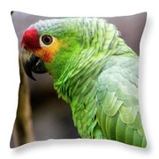 Green Tropical Parrot, Side View. Throw Pillow
