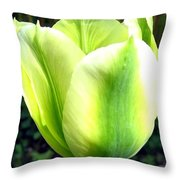 Green Tulip Throw Pillow