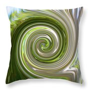 Green Twirl Throw Pillow