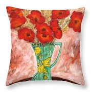Green Vase And Poppies Throw Pillow