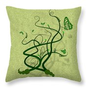 Green Vine And Butterfly Throw Pillow