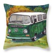 Green Vw Bus Throw Pillow