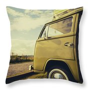 Green Vw T2 Camper Van 02 Throw Pillow