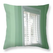Green Wall White Window Throw Pillow