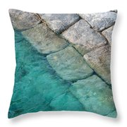 Green Water Blocks Throw Pillow