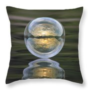 Green Waters And Cloudy Skies Throw Pillow