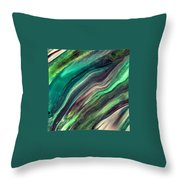 Green Waves Throw Pillow