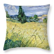Green Wheatfield With Cypress Throw Pillow