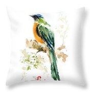 Green Wild Bird Throw Pillow