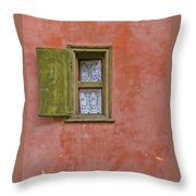 Green Window On A Red Wall Throw Pillow
