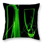 Green Wine Glasses And A Bottle Throw Pillow