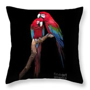 Green Winged Macaw Portrait Throw Pillow