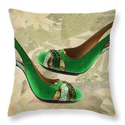 Green With Envy Pumps Throw Pillow