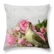 Green Woodpecker Stilllife Throw Pillow