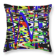 Green Yellow Blue Red Black And White Abstract Throw Pillow