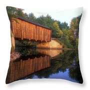 Greenfield Nh Covered Bridge Throw Pillow