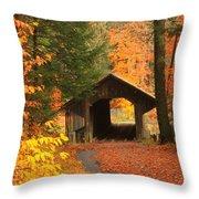 Greenfield Pumping Station Bridge Autumn Throw Pillow
