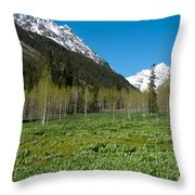 Greens And Blues Of The Maroon Bells Throw Pillow