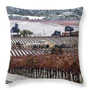 Greenville Vineyard In Snow Throw Pillow