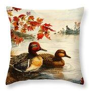 Greenwinged Teal Ducks Throw Pillow