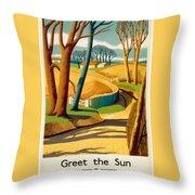 Greet The Sun By London Underground - Metro, Suburban - Retro Travel Poster - Vintage Poster Throw Pillow
