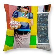 Greeter At Pizzeria In La Boca Area Of Buenos Aires-argentina- Throw Pillow