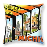 Greetings From Ann Arbor Michigan Throw Pillow
