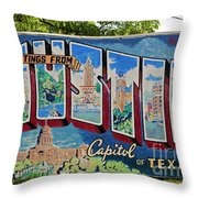 Greetings From Austin Capital Of Texas Postcard Mural Throw Pillow