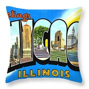 Greetings From Chicago Illinois Throw Pillow