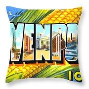 Greetings From Davenport Iowa Throw Pillow