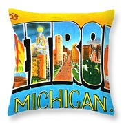 Greetings From Detroit Michigan Throw Pillow
