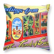 Greetings From Florida, The Land Of Sunshine Throw Pillow