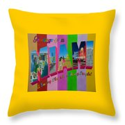 Greetings From Miami Throw Pillow