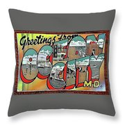 Greetings From Ocean City Throw Pillow