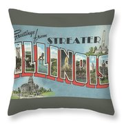 Greetings From Streater Illinois Throw Pillow
