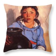 Gregorita With The Santa Clara Bowl 1917 Throw Pillow